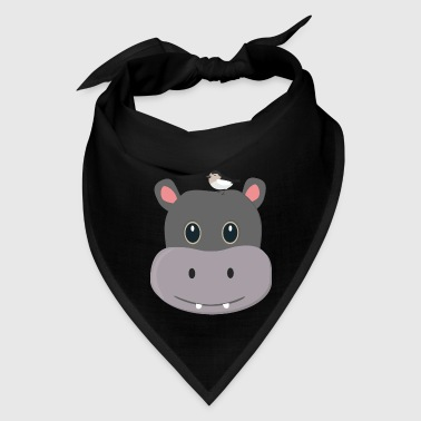 cute hippo with Bird - Bandana