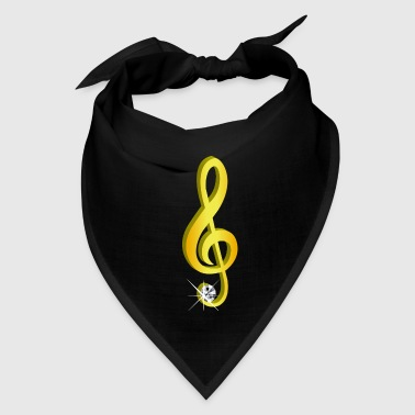 Gold icon musical note clef - Bandana