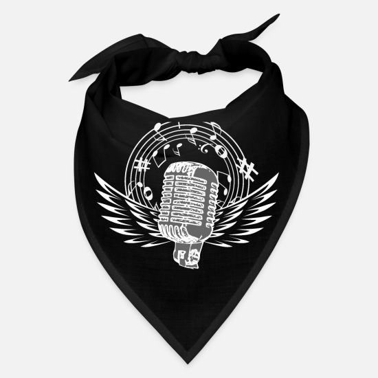 Note Caps - Microphone with wings white - Bandana black
