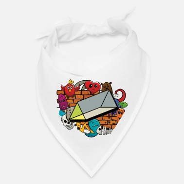 Cube Graffiti Abstract Pattern Triangular Prism 3d - Bandana