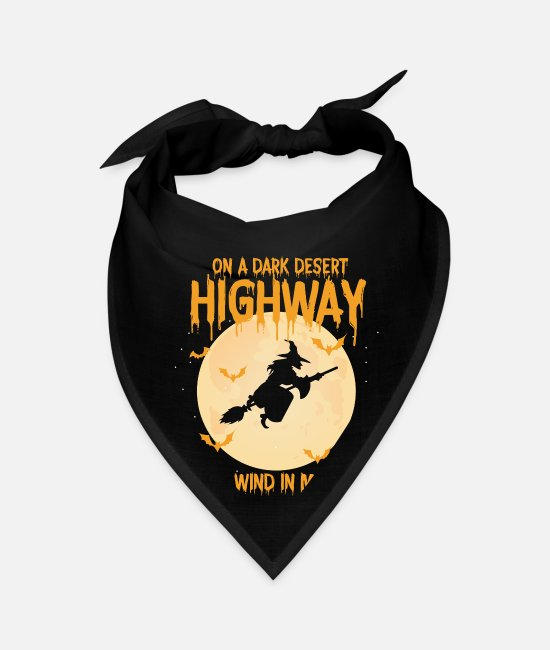Bats Bandanas - On A Dark Desert Highway Witch Broom Bat Halloween - Bandana black