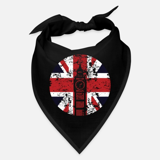 Union Jack Caps - Union Jack Big Ben Westminster Palace Distressed - Bandana black