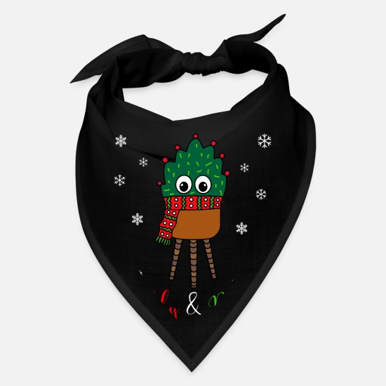 Cactus Caps - Prickly And Bright - Christmas Cactus With Scarf - Bandana black