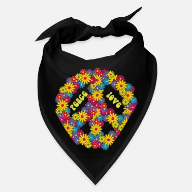 Hippie Peace Love flowers 60's 70's hippie costume - Bandana