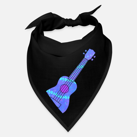 Ukulele Caps - Ukulele Blue Hawaii Luau - Bandana black