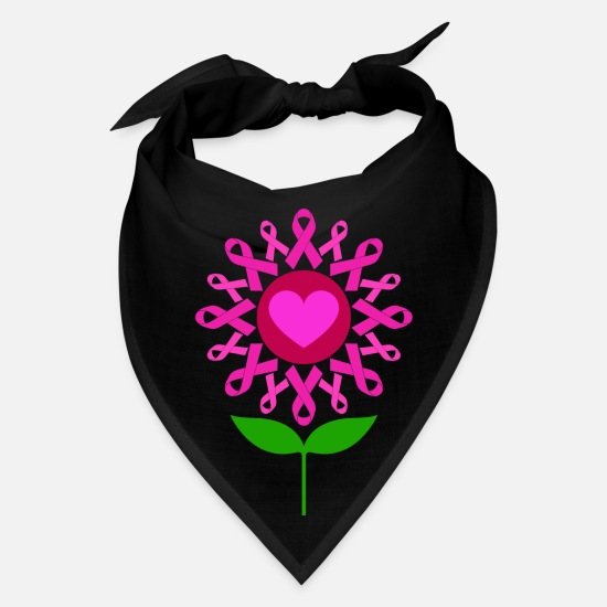 Cancer Caps - Cancer Ribbon Flower Breast Cancer Awareness Pink - Bandana black