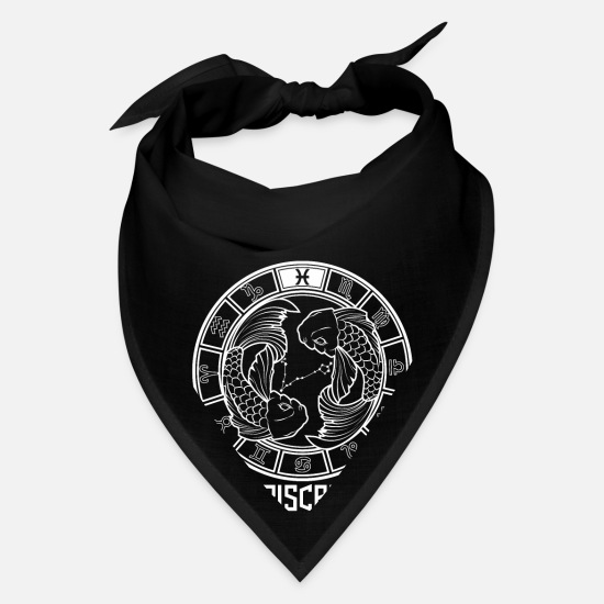 Birthday Caps - Pisces Zodiac Sign - February March Birthday Gift - Bandana black
