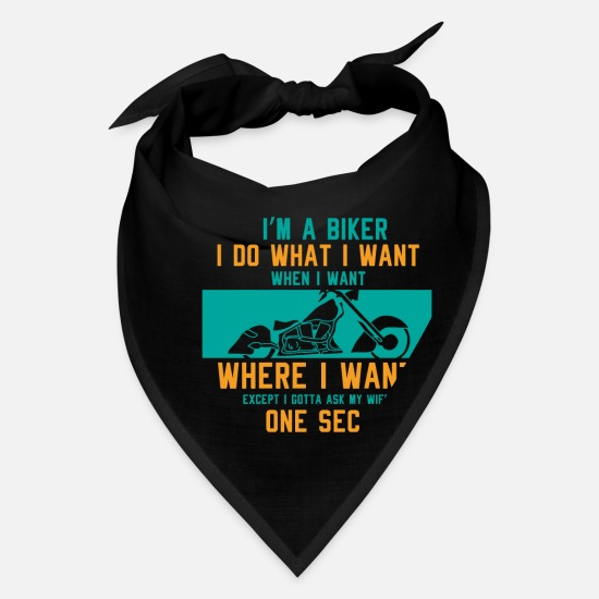 funny Motorcycle Biker Husband Gift Idea Bandana - black
