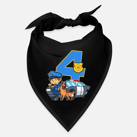 Birthday Caps - Police Officer 4th Birthday Party Supply 4 Years - Bandana black