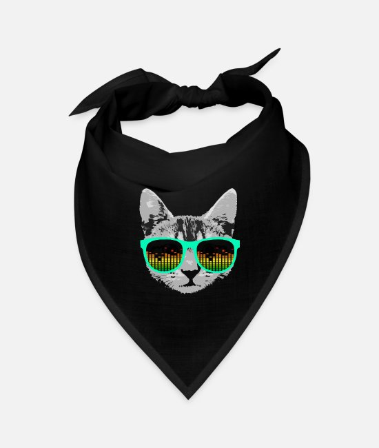 Cat Lady Bandanas - Music Cat with Glasses - Bandana black