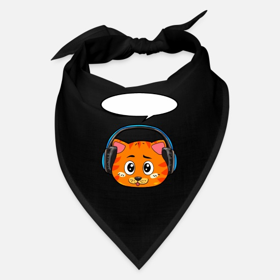 Headphones Caps - Cat with headphones - Bandana black