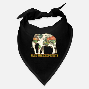 Map Save The Elephants World Map - Bandana