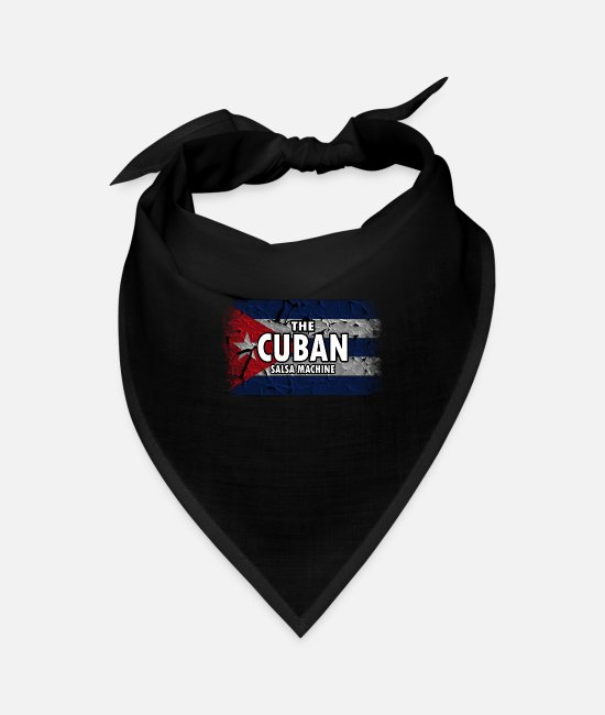 Cuba Bandanas - Cuba Flag. The Cuban Salsa Machine. Proud Cuban - Bandana black