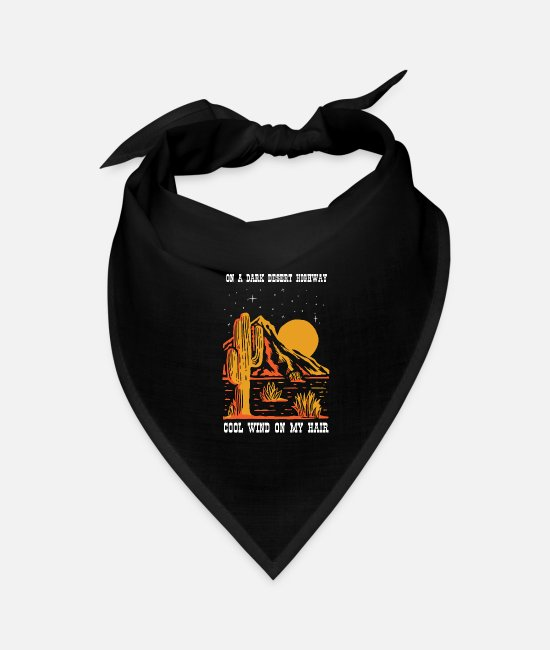 Classic Rock Lyrics Bandanas - Dark| Desert| Highway| Cool| Wind| Hair| Song - Bandana black
