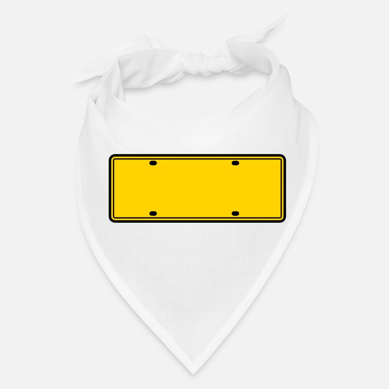 License Caps - simple 2 color blank licence plate - Bandana white