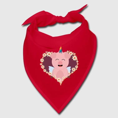 Unicorn angel pig in flower heart Szvrv - Bandana