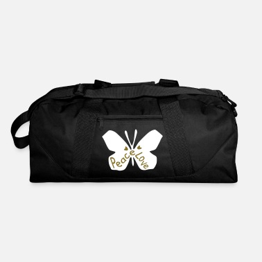 7288aa03d8e5 Peace Love txt heart butterfly vector art - Duffle Bag
