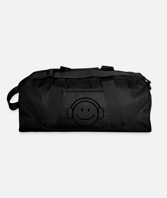 Dj Happy Face Bags & Backpacks - DJ Happy Face - VECTOR - Duffle Bag black