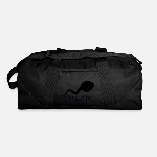 Freaky Bags & Backpacks - Sperm Freak Logo No Filter Art Graphic Design - Duffle Bag black