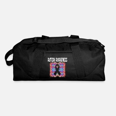 Bright Autism Awareness Tee Saying Peace Ribbon Autism - Duffle Bag