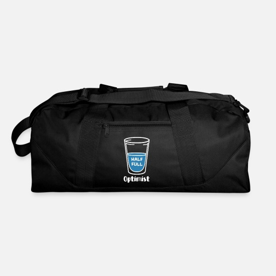 Water Bags & Backpacks - Optimist Slogan Text Water Half Full Gift - Duffle Bag black