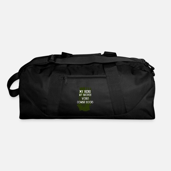 My Bags & Backpacks - My Hero My Brother Wears Combat Boots T Shirt Uniform Support - Duffle Bag black
