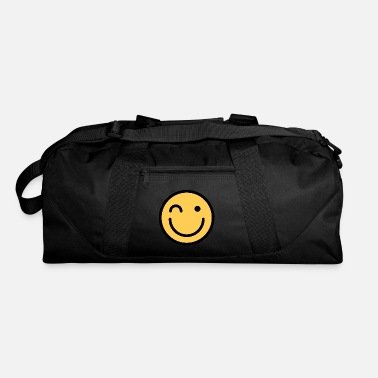 Squint Smiley Face Squinting Big Smiling Happy Smileys - Duffel Bag