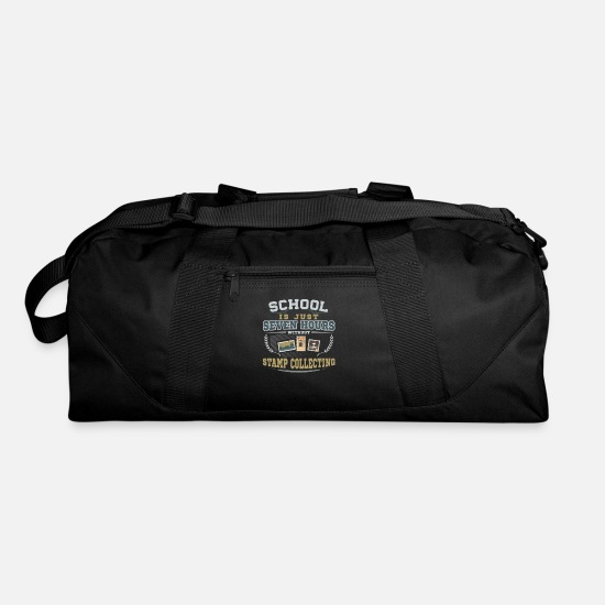 Stamp Bags & Backpacks - School is just Seven hours without Stamp Collecting - Duffle Bag black