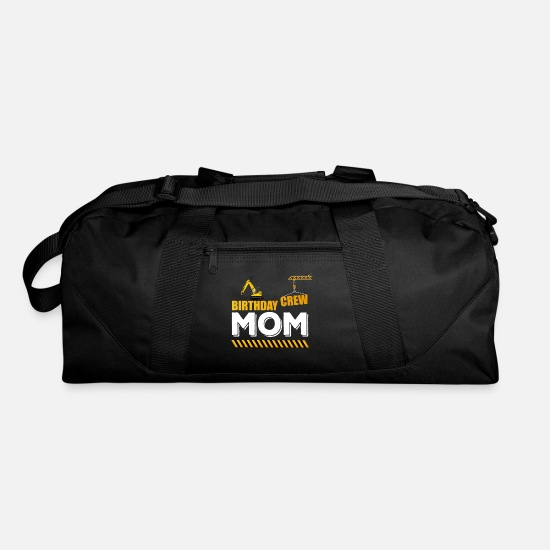 Party Bags & Backpacks - Birthday Crew Mom, Construction Theme Party - Duffle Bag black