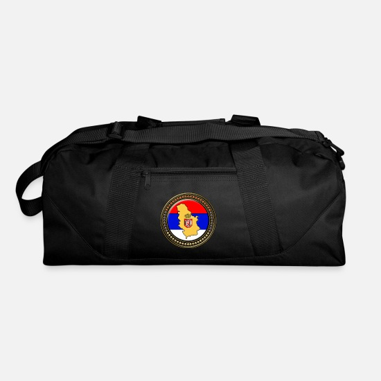 Serbia Bags & Backpacks - Serbia Flag Map - Duffle Bag black