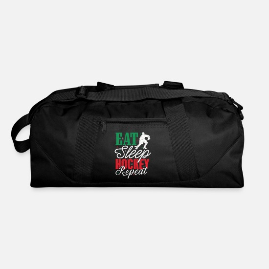 Hockey Bags & Backpacks - Hockey Eat Sleep Hockey Repeat Tshirt Funny Gift - Duffle Bag black