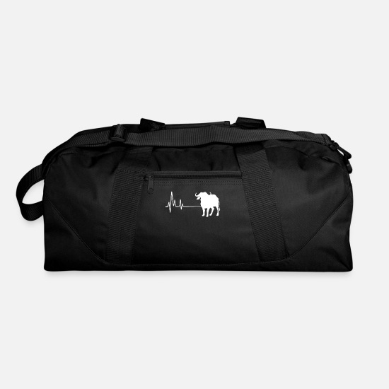 Bison Bags & Backpacks - My Heart Beats For Buffalos Heartbeat Tee Shirt - Duffle Bag black