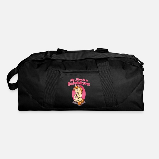 "Breast Bags & Backpacks - Cancer Survivor Unicorn : ""My Mom is a - Duffle Bag black"