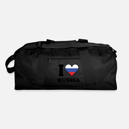 Love Bags & Backpacks - I Love Russia Russian Flag Heart - Duffle Bag black
