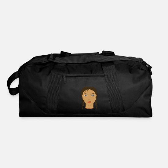Makeup Bags & Backpacks - Brunette girl face with two braids. Art. - Duffle Bag black