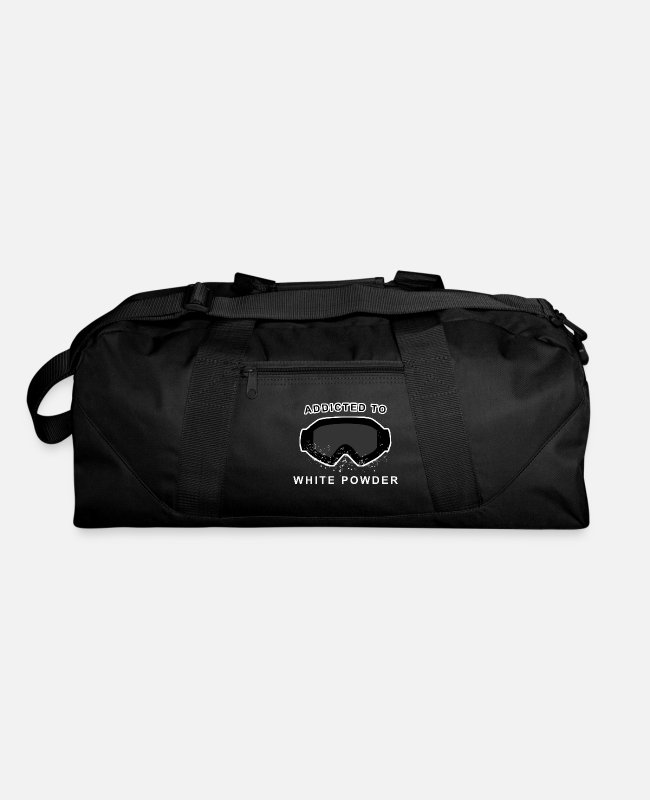 Ski Bags & Backpacks - Skiing Saying- addicted to white powder - Duffle Bag black