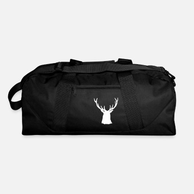 Stag White Stag Buck Head Antlers Silhouette - Duffle Bag