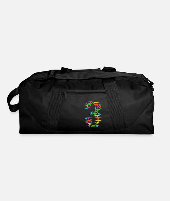 Birthday Child Bags & Backpacks - Children 3rd Birthday - Dino Three Year - Duffle Bag black