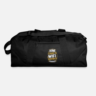 top hand drawn lettering home is where wifi - Duffle Bag
