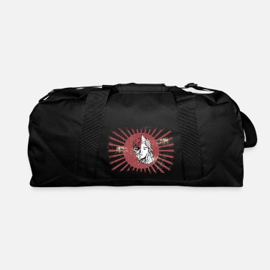 Alive Hand Drawn Woman with Skull on Kamikaze Flag - Duffle Bag