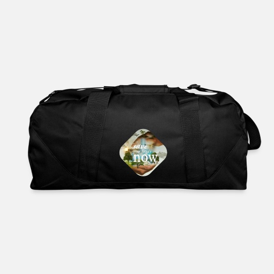 Birthday Bags & Backpacks - Shirt climate save future now - Duffle Bag black