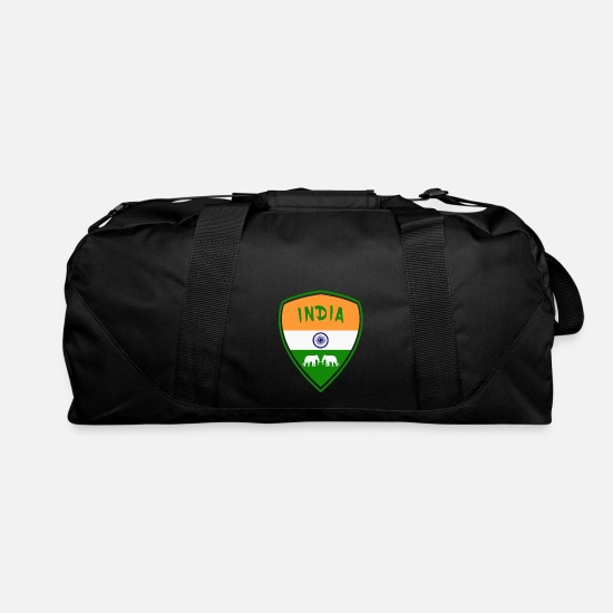 Patriot Bags & Backpacks - India coat of arms with elephants / gift flag - Duffle Bag black