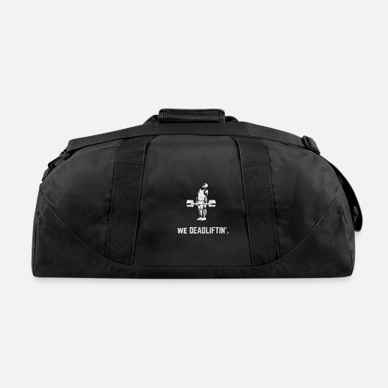 Lifting Weightlifting Deadlift Vintage Gym Duffel Bag Black
