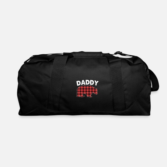 Red Wine Bags & Backpacks - Red Plaid Daddy Bear Buffalo Matching Family Pajam - Duffle Bag black