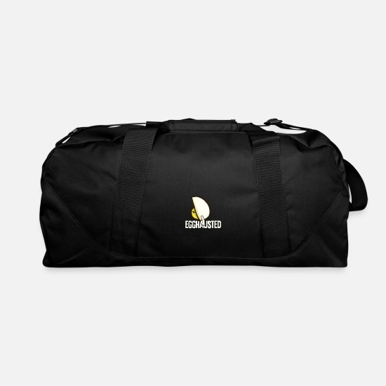 Egg Bags & Backpacks - Egghausted - Puns - D3 Designs - Duffle Bag black
