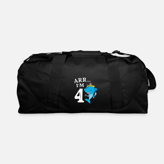 Pirates 4th Birthday Party 4 Years Shark Gift Idea Duffel Bag Black
