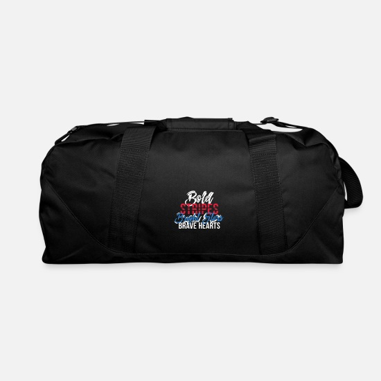 Stars And Stripes Bags & Backpacks - Bold Stripes Bright Stars Brave Hearts 4th July - Duffle Bag black
