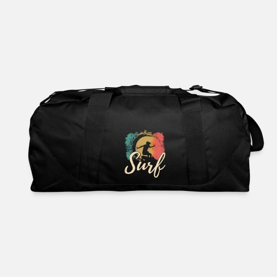 Nostalgia Bags & Backpacks - surfer with board - Duffle Bag black