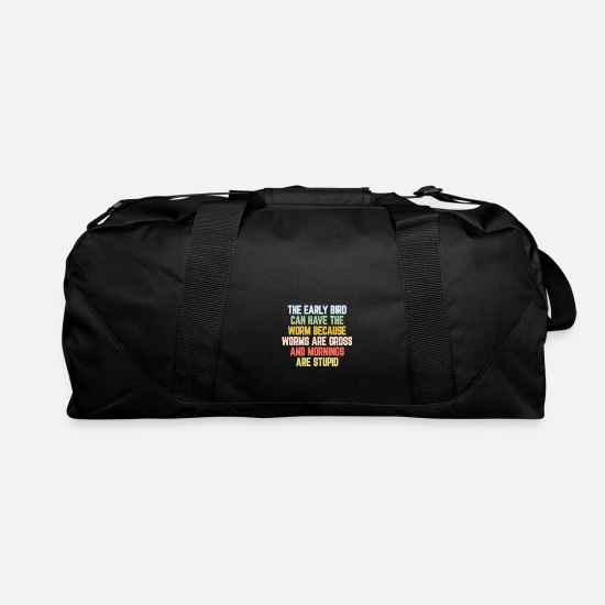 Bird Bags & Backpacks - Early Bird Morning Funny Present - Duffle Bag black