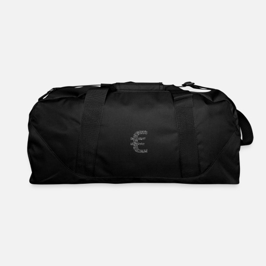 Proud Bags & Backpacks - Snow Wordcloud of a euro ion form (white) - Duffle Bag black